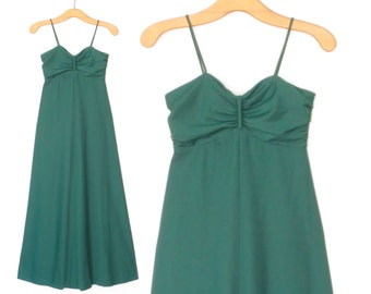 70s Maxi Dress * Emerald Green Gown * Vintage 1970s Evening Dress * XS