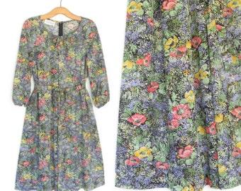 70s Tent Dress * Vintage 1970s Dress * Sheer Floral Dress *  Large