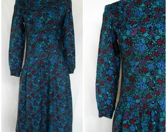 1980s Lanz Original Dress, Drop Waist, Vibrant Blue Floral Print, Rayon, Small S