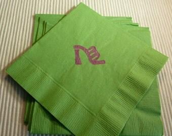 Ladies High Heel Sandal Paper Napkins - Cocktail/ Luncheon/ Dinner - Green - Set of 24