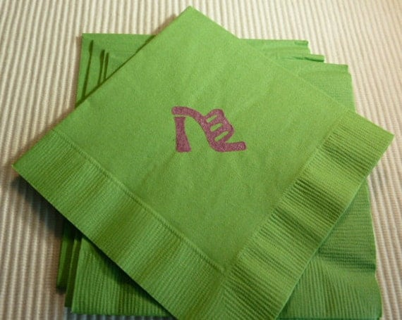 Ladies High Heel Sandal Paper Napkins - Cocktail/ Luncheon/ Dinner - Green - Set of 24