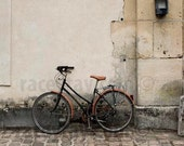 Rustic Paris Print, Bicycle, Beige, Brown, Neutral, Travel, Rustic Wall Decor, Bike Photography, Large Wall Art