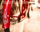 Red Bike Print, Boy Nursery Art, Retro Bike, Vintage Bicycle, Beige, Red, Bike Art Print, Red Bicycle Photo