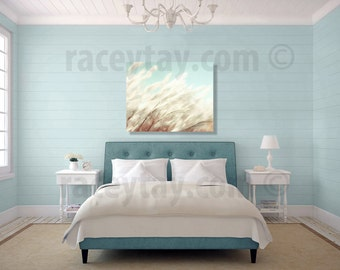 Blue Beach Canvas, Wall Art Canvas, Blue, Cream, Beach Grass, Pastel Beach Decor, Large Canvas Wall Art, 16x20 Canvas