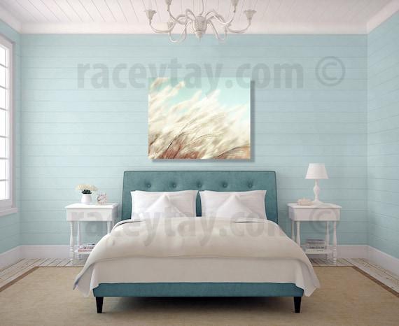 Shabby Chic Canvas Wall Art, Blue Cream Beach Grass, Large Wall Art Canvas 16x20 Canvas Art