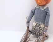 Folk Art Pumpkin head doll cloth clay hand stitched flower pants ooak sculpted