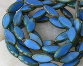 Blue Silk Picasso Glass Spindle Beads - Jewelry Making Supplies 17x8mm Pointed Oval (10 beads)