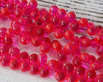 7x5mm Glass Teardrop Beads - Jewelry Making Supplies - Tear Drop Beads 5x7mm (75 pieces) Hot Pink