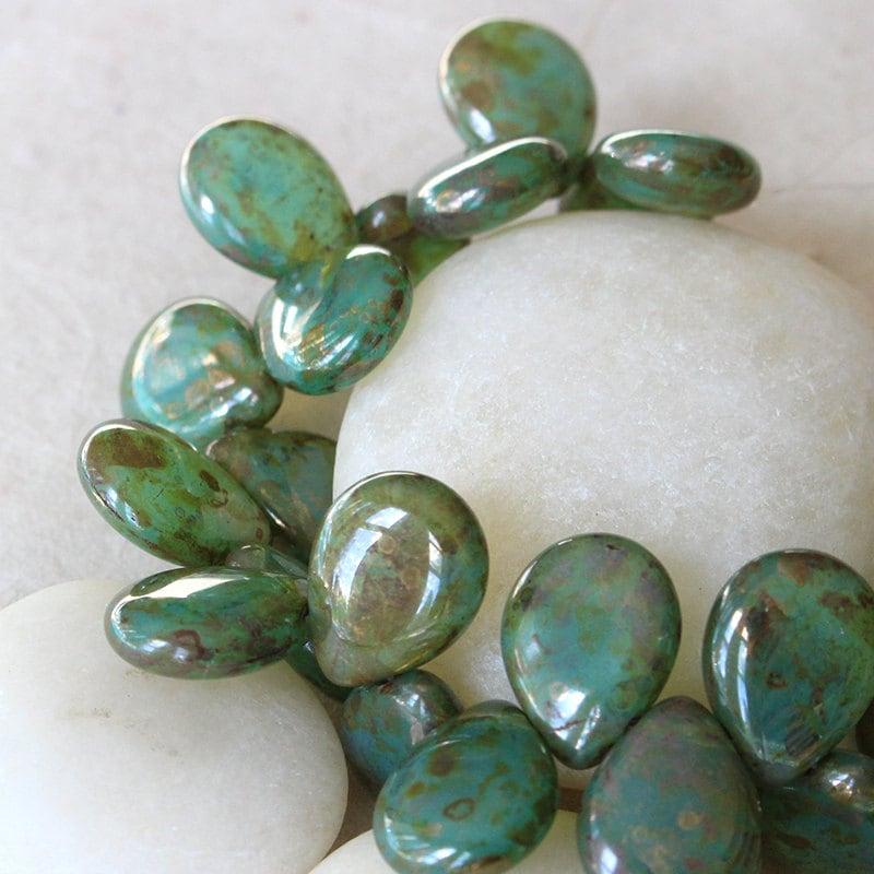Teardrop Beads: 12x16mm Flat Teardrop Beads Czech Glass Beads Jewelry