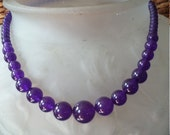 Amethyst gemstone graduated beaded necklace
