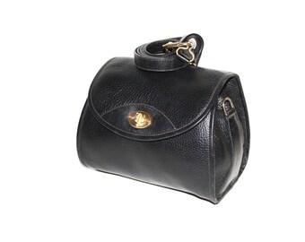 GUCCI Vintage Handbag Black Pebbled Leather Cross Body Convertible Clutch - AUTHENTIC -