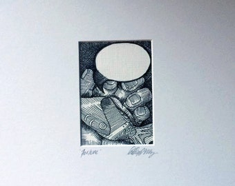 Original Pen and Ink ACEO Matted Art Card - Fortune