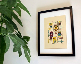 Tiki Tiles Limited Edition Screen Print - Hand Pulled Print - Tiki Art Print