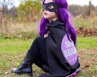 Superhero Cape Personalized Name Star Glitter / Sparkle Black and Princess Purple , 2T - 7T, cloak fast ship