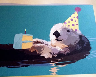 Otter Birthday Party Card