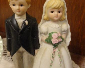 Wedding Cake Topper Bell Vintage Lefton Bride and Groom