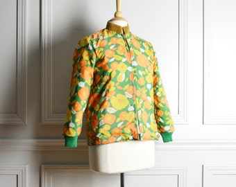 Jacket Reversible / Yellow Orange Floral Green Quilted Nylon / Kitschy Mod / 70s Vintage / Medium M