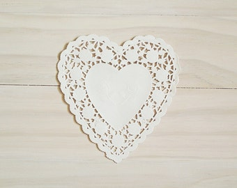 White Heart Lace Paper Doilies - Valentines Day Doilies, 6 Inch Doilies, Heart Doilies, Paper Doilies, Gift Wrap