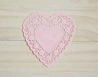 Light Pastel Pink Heart Lace Paper Doilies - Valentines Day Doilies, 6 Inch Doilies, Heart Doilies, Paper Doilies, Gift Wrap