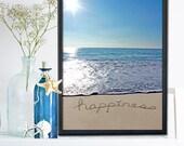 Beach Wall Art- Happiness in the sand - Bathroom Decor - Beach Bedroom - Beach Nursery - Coastal Christmas Gift - My One Word  2016