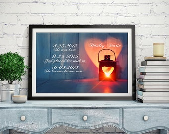 PERSONALIZED ADOPTION ART Gift - Personalized Adoption Gift- Never Alone Gift - New BabyGift - Adoption Announcement-Never Alone