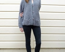 Vintage Mohair 1980's Slate Gray Oversize Fuzzy Cableknit Cardigan Sweater M