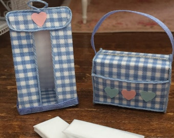 Miniature Baby Diaper Stacker and Diaper Bag, White and Blue Set, Dollhouse Miniatures, 1:12 Scale, Dollhouse Nursery Decor, Accessory