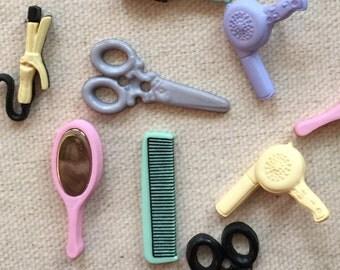 "Hair Dresser Salon Buttons, ""A Cut Above"" Packaged Novelty Buttons by Dress It Up Jesse James, Packaged Button Assortment, Embellishments"