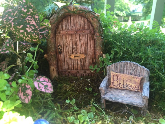 Beautiful Mystical Fairy Door, Wood Look with Mail Slog and Doory Knob,  Miniature Gardening, Fairy Garden Accessory, Home and Garden Decor