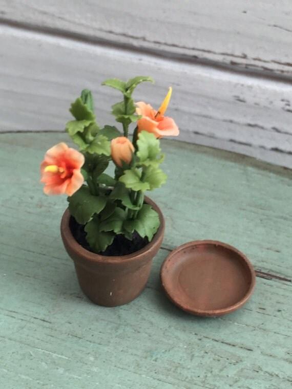 Miniature Hibiscus Plant in Terracotta Flower Pot, Dollhouse Miniature, 1:12 Scale, Shades of Orange Hibiscus Flower, Mini Plant