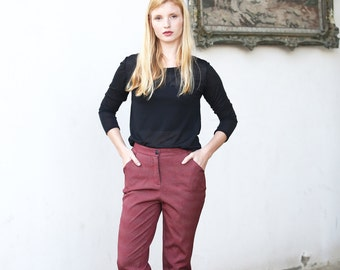 Red pleated trousers /  Polkadot cropped trousers / Dark red tapered pants  - 50% off - Sale