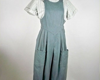 Vintage 1910s, Edwardian Bib Overalls, Uniform, Reproduction, Light Blue Cotton W28/30, Factory Worker, Steampunk. Cosplay, Suffragette