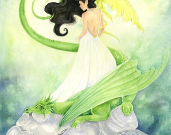 Dragon Art Print - Lady of Dragons - fantasy. watercolor. whimsical. fairy tale. illustration. green. ebony.