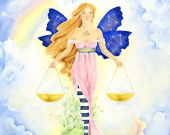 Fairy Art Print - Libra - zodiac sign. fantasy. watercolor. astrology. the scales. balance. pink. air. beauty.