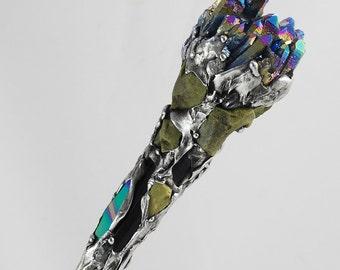 Titanium Rainbow Green Opal Smokey Quartz magical power wand alter tools ceremonial druid wiccan spell casting Darlene Musser