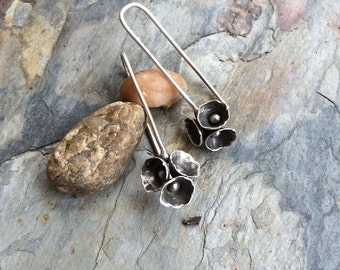 Sterling Silver Flower Pod Earrings for Pierced Ears. Handmade Jewelry for Charity.