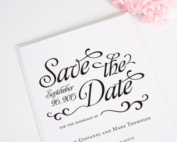 Whimsical Black and White Save the Date Card with Unique Calligraphy Font for a Shabby Chic Wedding - Alluring Script Deposit