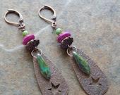copper star earrings, celestial jewelry, copper stars, purple, turquoise green, colorful, rustic, tribal, boho earrings ,bohemian jewelry
