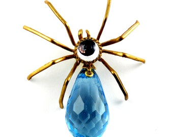 Victorian Steampunk SPIDER Pin ~ Tack Pin, Tie Tac, ArachneMachina, Faceted Blue Drop, Mirror Cabochon #Pin0098 by Robin Taylor Delargy