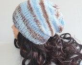 Knitted Hat, Slouchy Beanie, Blue and Brown Hat, Mens Hat, Womans Hat, Knit Beanie, Accessories, Fall Hat, Winter Hat