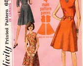 1960s Simple A-Line Dress Pattern - Vintage Jiffy Simplicity 6168 - Bust 34