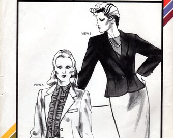 1980s Fitted Spencer Jacket Pattern - Vintage Stretch & Sew 1009 - Bust 28 to 44 UNCUT
