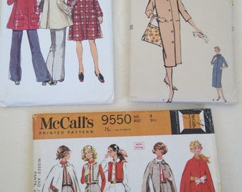 Womens Cape & Coat Patterns - Vintage Pattern Lot - 3 Patterns in Size Small