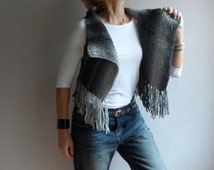Gray Vest, Womens Sweater, Knit Vest Sweater, Sleeevless Vest, Boho Vest, Fringe Vest, Winter Accessories, Christmas Gift