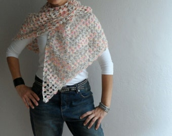 Mohair Triangle Shawl, Womens Scarf Neckwarmer Shoulder Wrap, Midi Shawl