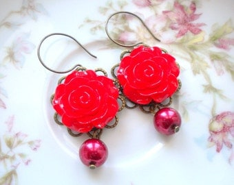 Red Rose Earrings Red Dangle Earrings Red Chandelier Earrings Romantic Jewelry Red Flower Earrings Red Pearl Earrings Gift For Woman
