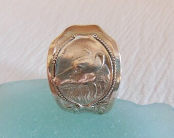 Antique Spoon Ring  Sterling Silver  Size 7 and three quarters