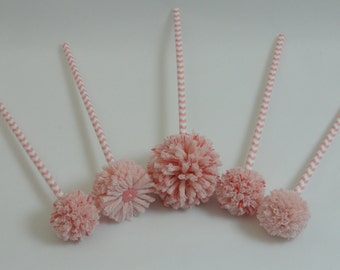 Pom Pom Flowers - Pink - Baby Shower Centerpiece - Baby Girl Nursery - Expecting Mom Gift - Pink/White Chevron Stripes - Kids' Room Decor