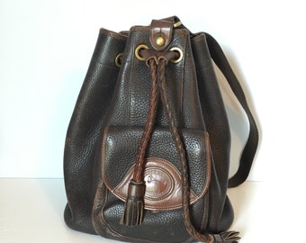 90's Dooney and Bourke Backpack Purse / Leather Handbag / Black Leather Bag / Brown and Black / Fringe Tassels
