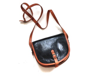 Vintage Leather Mini Purse / Two Tone Leather Bag / Cross Body Purse / Mini Leather Satchel